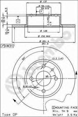 Диск тормозной ALFA ROMEO 164/FIAT BRAVO/CROMA/MULTIPLA/STILO задний