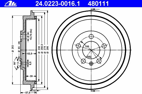 Барабан тормозной SKODA - OCTAVIA (1U2) - 1.6