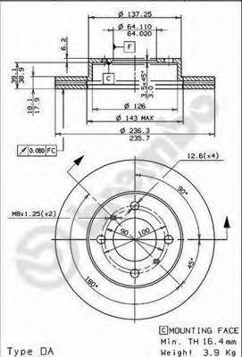 Диск тормозной MITSUBISHI CARISMA 1.6/1.9 95-06/COLT 92-05/LANCER 92-03 передний