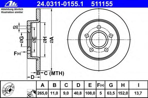 Диск тормозной задн, POWER DISC, FORD: C-MAX 1.6/1.6 TDCi/1.8/1.8 Flexifuel 07-, FOCUS C-MAX 1.6/1.6 TDCi/1.6 Ti/1.8/1.8 Flexifuel 03-07, FOCUS II 1.4/1.6/1.6 LPG/1.