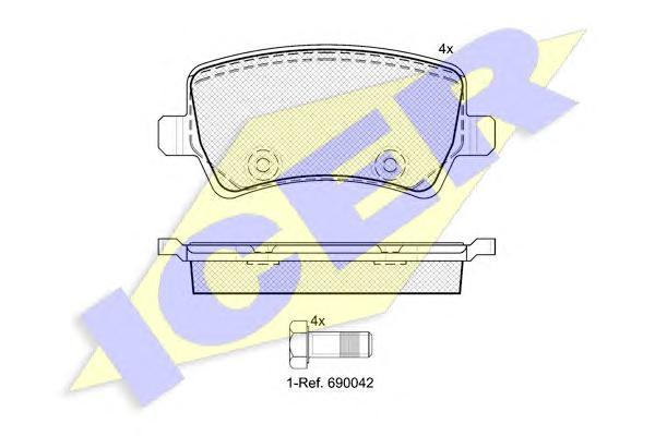 Колодки тормозные ICER 181776 VOLVO XC70 07-/ FORD Mondeo 07- /RANGE ROVER EVOQUE задн