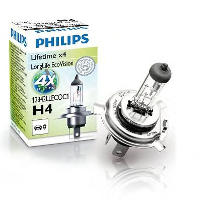 Лампа 12В Н4 60/55Вт Р43 Long Life галогенная Philips
