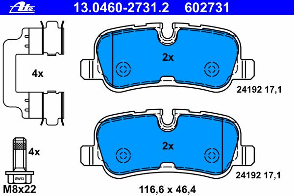 Колодки тормозные дисковые задн, LAND ROVER: DISCOVERY IV 3.0 4x4/3.0 SDV6 4x4/3.0 TD 4x4/4.0 4x4/5.0 V8 4x4 09-, RANGE ROVER III 3.6 TD 8 4x4/5.0 V8 4x4 02-12, RANGE ROVER SP