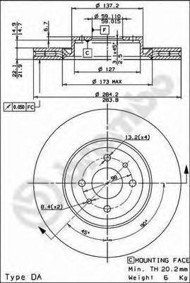 Диск тормозной FIAT 500 08-/BRAVO 07-/DOBLO 01-/STILO 01- передний