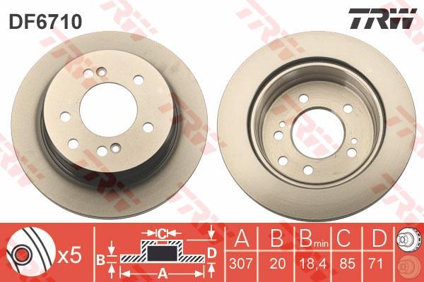 Диск тормозной задний SSANGIYONG RODIUS I-II (307мм) DF6710