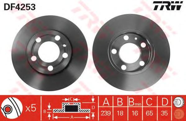 Диск тормозной передний SKODA FABIA I-II, VW POLO (9N_) DF4253