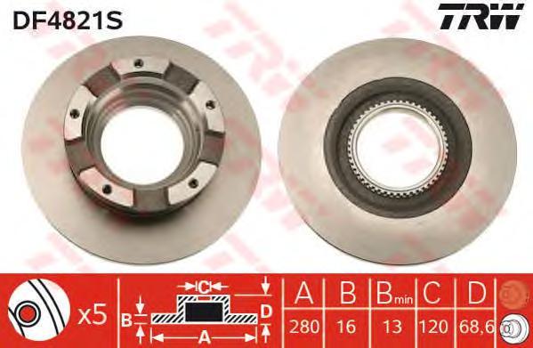 Диск тормозной задний FORD TRANSIT 06- (280мм) DF4821S