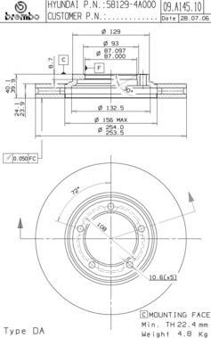 Диск тормозной передн, HYUNDAI: H-1/ STAREX 2.4/2.4 4WD/2.5 CRDi/2.5 D/2.5 TCi/2.5 TD/2.5 TD 4WD/2.6 TDiC 97-, H-1 2.5 D 00-05, H-1 2.4/2.5 TD 97-07