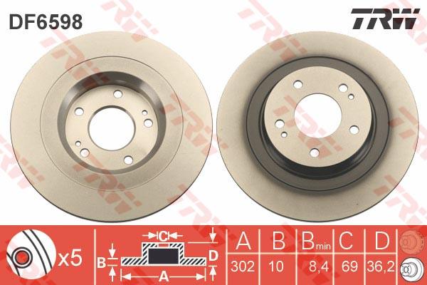 Диск тормозной задний MITSUBISHI OUTLANDER III (302ММ) DF6598