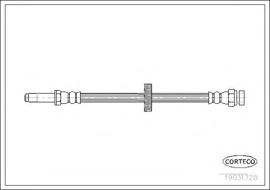 Шланг тормозной SKODA: FAVORIT 1.3/1.3 135/1.3 135 X,LX,GLX/1.3 135L/1.3 136 89-94, FELICIA I 1.3/1.6 LX/1.9 D 94-98, FELICIA I Fun 1.3/1.6/1.9 D 95-02, FELICIA I ун