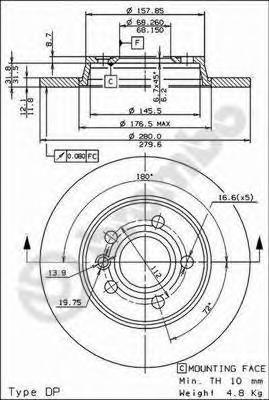 Диск тормозной VW TRANSPORTER IV 90-03 задний D=280мм.