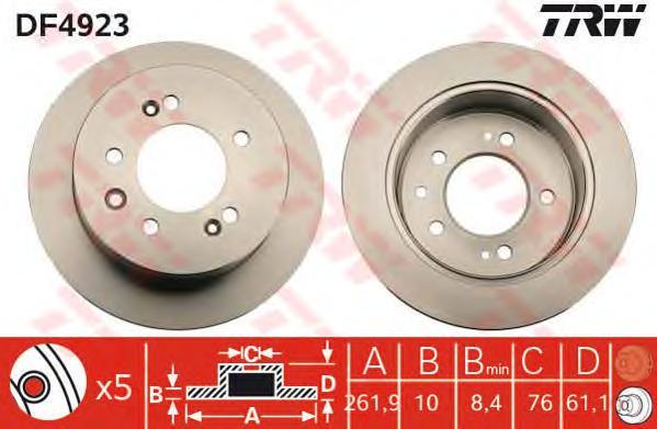 Диск тормозной задний HYUNDAI ELANTRA 06-11, SONATA VI (262мм) DF4923