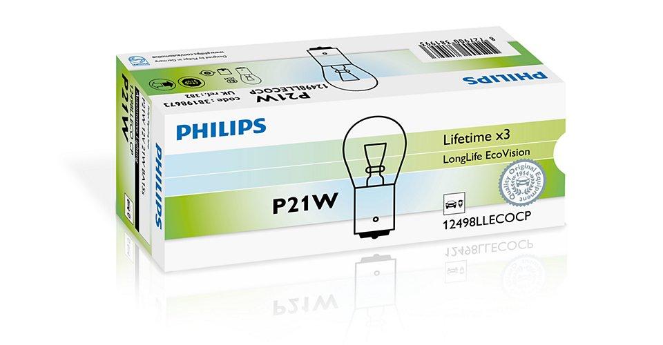 Лампа PHILIPS 12498LLECOCP P21W 12V 21W (BA15S) LongLife EcoVision