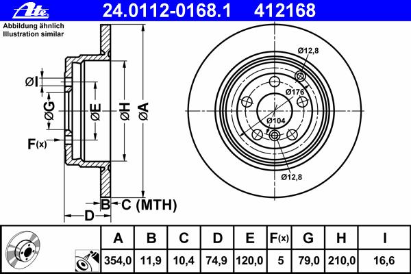 Диск тормозной задн, LAND ROVER: RANGE ROVER III 3.0 TD 6 4x4/3.6 TD 8 4x4/4.2 4x4/4.4 4x4 02-12