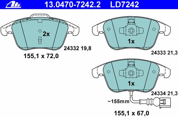 Колодки тормозные дисковые передн, CERAMIC, AUDI: Q3 2.0 TDI/2.0 TDI quattro/2.0 TFSI quattro 11- \ SEAT: ALHAMBRA 1.4 TSI/1.8 TFSI/2.0 TDI/2.0 TDI 4WD/2.0 TSI 10- \ VW: SHARAN