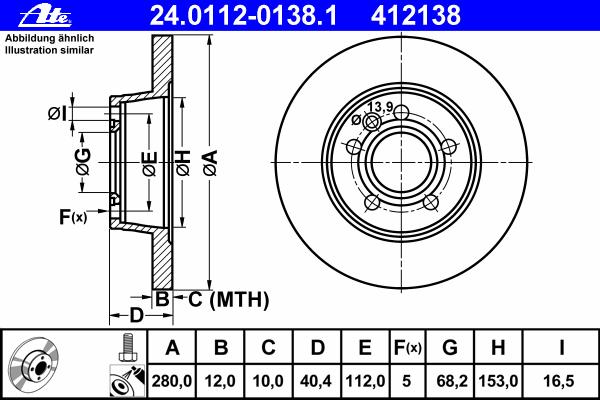 Диск тормозной задн, VW: TRANSPORTER IV c бортовой платформой 1.9 D/1.9 TD/2.0/2.4 D/2.4 D Syncro/2.5/2.5 Syncro/2.5 TDI/2.5 TDI Syncro 90-03, TRANSPORTER IV автоб