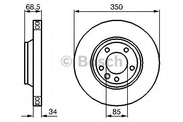 Диск тормозной AUDI Q7 07>/VW TOUAREG 03>/PORSCHE CAYENNE передний лев.вент.