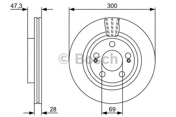 "Диск тормозной HYUNDAI i30 07- R16"" передний вент.D=300мм."