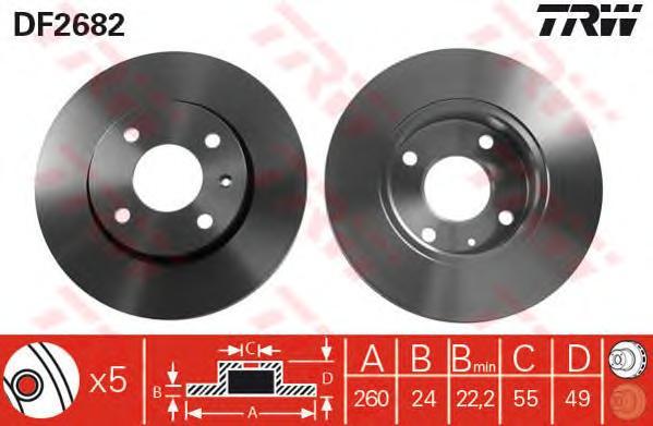 Диск тормозной TRW DF2682 Escort 91- пер.вент.