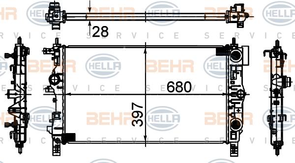 Радиатор системы охлаждения OPEL Astra-J 1.4 NET,1.6 LET (АКПП)