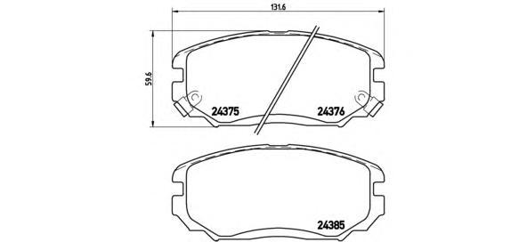 Колодки тормозные дисковые передн, HYUNDAI: GRANDEUR 2.2 CRDi/2.7/3.3/3.8 05-, SONATA V 2.0 CRDi/2.0 VVTi GLS/2.4/3.3 05-