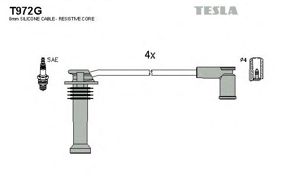 Провода в/в TESLA T972G FORD FOCUS II 05-12/ MONDEO 07-12 1.6