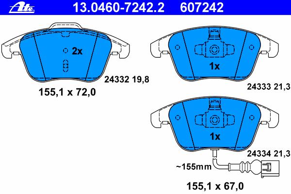 Колодки тормозные дисковые передн, AUDI: Q3 2.0 TDI/2.0 TDI quattro/2.0 TFSI quattro 11- \ SEAT: ALHAMBRA 1.4 TSI/1.8 TFSI/2.0 TDI/2.0 TDI 4WD/2.0 TSI 10- \ VW: SHARAN 1.4 TSI