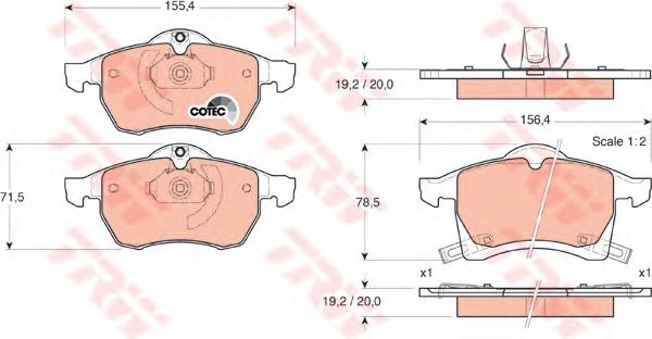 Колодки передние OPEL ASTRA G, ZAFIRA A, B GDB1350