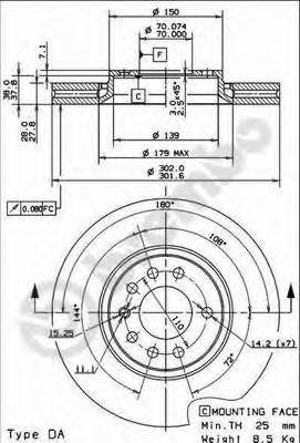 Диск тормозной OPEL VECTRA C 1.8-3.2 02-/SAAB 9.3 1.8-2.2 02- передний D=302мм.