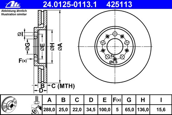 Диск тормозной передн, AUDI: A1 1.2 TFSI/1.4 TFSI/1.6 TDI/2.0 TDI/2.0 TFSI quattro 10-, A1 Sportback 1.2 TFSI/1.4 TFSI/1.6 TDI/2.0 TDI 11-, A3 1.6/1.8/1.8 T/1.8 T