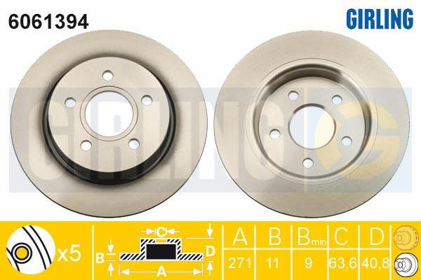 Диск тормозной GIRLING 6061394 FORD FOCUS III 11-/C-MAX 10- задний 271*11