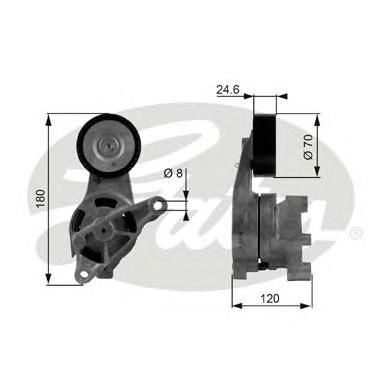Ролик натяжителя GATES T38438 Audi A3 1.9TDi/2.0TDi 03- /VW Caddy 1.9TDi/2.0SDi 04-