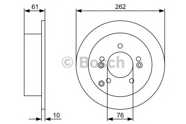 Диск тормозной HYUNDAI SONATA (NF)/TUCSON 04-/KIA SPORTAGE 04- задний D=262мм.