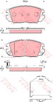 Колодки тормозные TRW GDB3409 Hyundai NF 06- 131,5*60,1*17,5 = 581013KA20