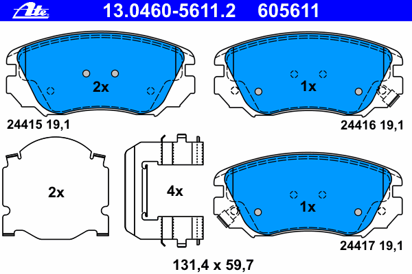 Колодки тормозные дисковые передн, CHEVROLET: MALIBU 2.0/2.0 D/2.0 LPG/2.4 12- \ OPEL: INSIGNIA 1.4/1.4 LPG/1.6/1.6 SIDI/1.6 Turbo/1.8/2.0 Biturbo CDTI/2.0 Biturbo CDTI 4x4/2.