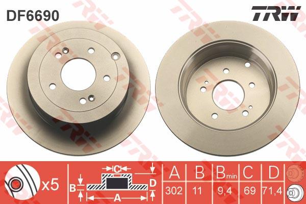 Диск тормозной задний HYUNDAI SANTA FE II 3/06- DF6690