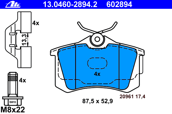 Колодки тормозные дисковые задн, AUDI: A2 1.4 TDI/1.6 FSI 00-05, A3 1.6/1.8/1.8 T/1.8 T quattro/1.9 TDI/1.9 TDI quattro 96-03, TT 1.8 T/1.8 T quattro/3.2 VR6 quattro 98-06, TT