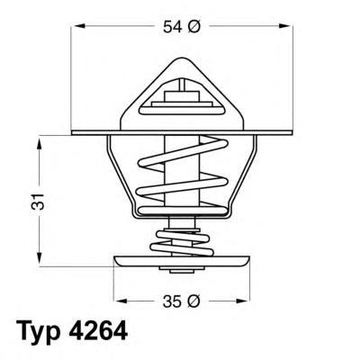 Термостат (с прокладкой) SEAT: CORDOBA 93-99, IBIZA II 93-99, TOLEDO I 91-99 \ VW: GOLF II 83-92, GOLF III 91-97, JETTA II 84-92, PASSAT 88-96, POLO 81-94,