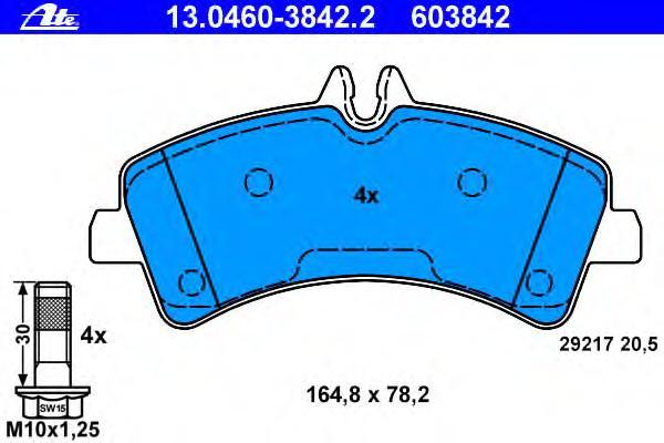 Колодки тормозные дисковые задн, MERCEDES-BENZ: SPRINTER 4,6-t c бортовой платформой 411 CDI/413 CDI/415 CDI/416 CDI/418 CDI/419 CDI/424 06-, SPRINTER 4,6-t фургон 411 CDI/413