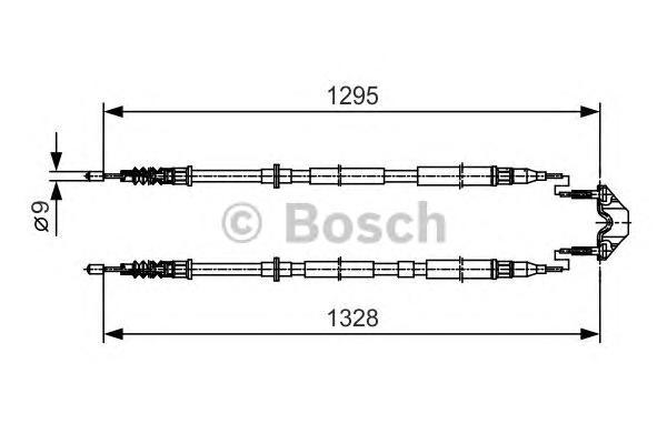Трос ручного тормоза OPEL ASTRA H 05- 1295/1328мм