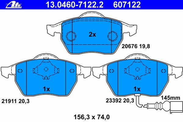 Колодки тормозные дисковые передн, AUDI: A3 1.6/1.8/1.8 T/1.8 T quattro/1.9 TDI/1.9 TDI quattro/S3 quattro 96-03, TT 1.8 T/1.8 T quattro 98-06, TT Roadster 1.8 T/1.8 T quattro