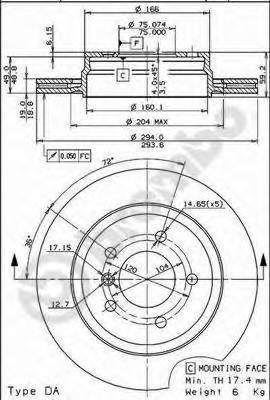 Диск тормозной передн MITSUBISHI: CARISMA 95-06, CARISMA седан 96-06, VOLVO: S40 I 95-03, S40 II 04-, V40 универсал 95-04