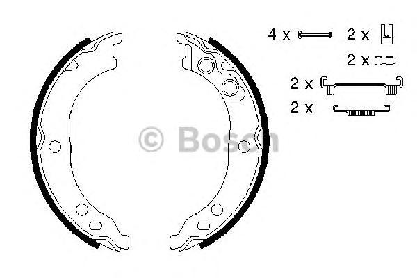 Комплект тормозных колодок, стояночная тормозная система 0986487712