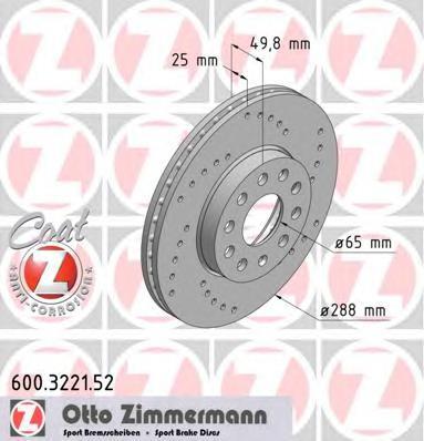 Диск тормозной (заказывать 2шт./цена за1шт.) VAG SPORT с антикоррозионным покрытием Coat Z