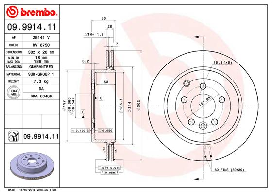 Диск тормозной LAND ROVER FREELANDER 3.2 06- задний вент.D=302мм.
