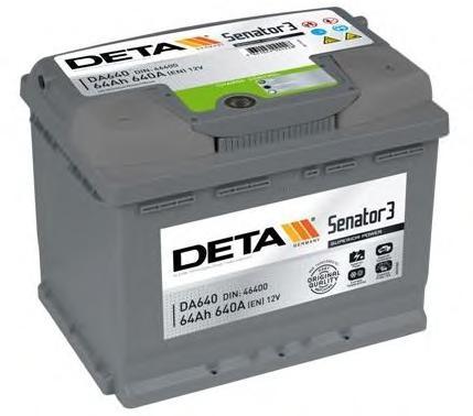 Аккумулятор Замена - DB621. DETA SENATOR3 12 V 64 AH 640 A ETN 1(L+) B13 242x175x190mm 16.4kg