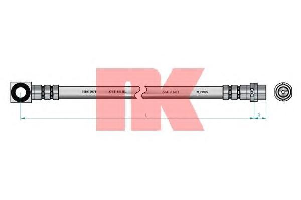 Шланг тормозной задний / FORD Mondeo-I/II универсал (для дисковых тормозов) 93 - 00