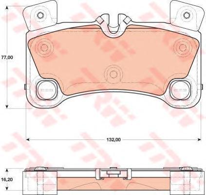 Колодки задние AUDI Q7 (4L), VW TOUAREG (7L_) (132x77x16,2) GDB1775
