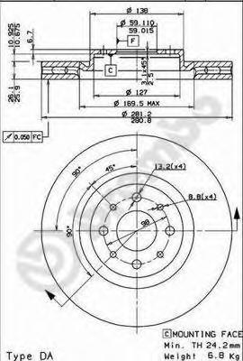 Диск тормозной ALFA ROMEO MITO 08-/FIAT BRAVO 07-/STILO 01- передний вент.