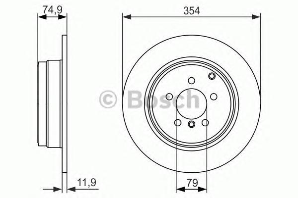 Диск тормозной LAND ROVER RANGE ROVER III 02- задний D=354мм.